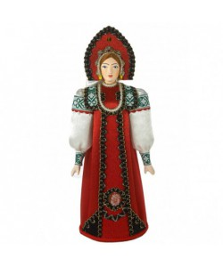 Porcelain art doll Festive Girlish folk costume Handmade souvenir