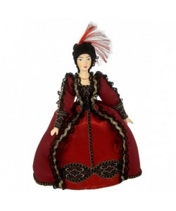 Porcelain Art doll Fashionable costume with red feathers 18th century Europe Handmade souvenir