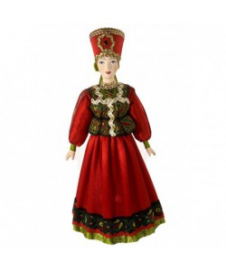 Porcelain Art doll Krasna Devitsa - a pretty girl in a festive costume 19th century Moscow province Russia Handmade souvenir
