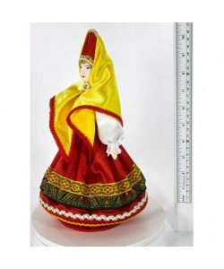 Porcelain art doll Woman in folk summer costume 18th century Russia Handmade souvenir