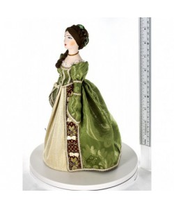 Porcelain art doll Fashionable gown of Catherine's era Europe Handmade souvenir