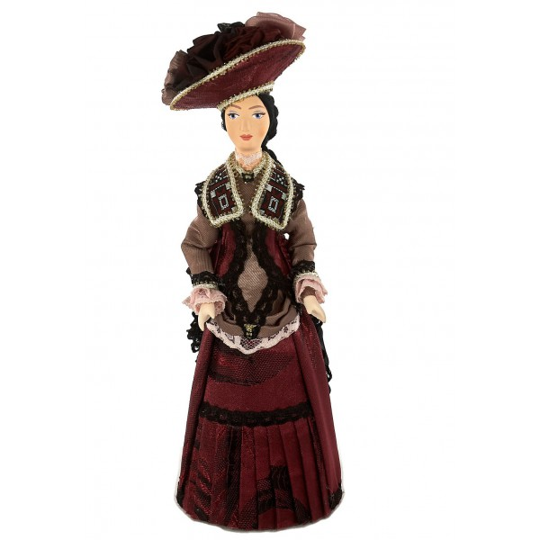 Porcelain Art doll Lady in urban fashionable French costume 19th century St. Petersburg Russia Handmade souvenir