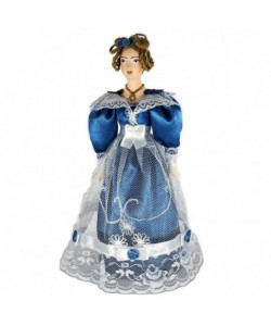 Porcelain art dol A lady in a costume of the Biedermeier era 19th century Petersburg