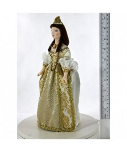 Porcelain art doll Cinderella in costume based on French fashion Handmade souvenir