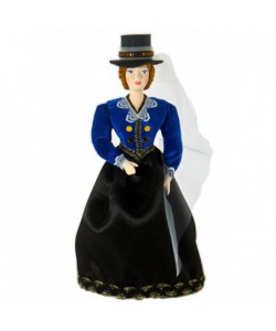 Porcelain art doll A lady in a riding-habit 19th century European fashion Handmade souvenir