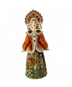 Porcelain Art doll Women's folk festive costume 18th century Central Russia Handmade souvenir
