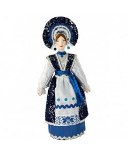 Porcelain art doll Girl in stylized Russian costume 19th century Central Russia Handmade souvenir