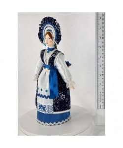 Porcelain ethographic art doll Girl in stylized Russian costume 19th century Central Russia Handmade souvenir