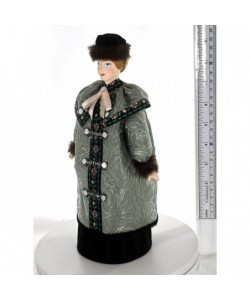 Porcelain art doll Townswoman in winter costume early 20th century Russia Handmade souvenir