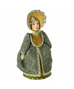 Porcelain art doll The young lady in the walking сostume 19 century Russia Handmade souvenir
