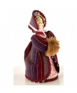 Art Doll The young lady in a fur coat and bonnet 19th century Russian European Fashion