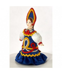Porcelain art doll Alyonushka girl in a Russian folk costume Handmade souvenir