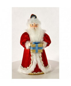 Porcelain art doll Ded Moroz - Russian Santa Claus with gifts fairy-tale character Handmade souvenir