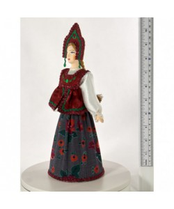 Porcelain art doll Folk girlish festive costume 19th century Central Russia Handmade souvenir
