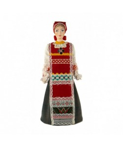 Porcelain art doll Traditional peasant girlish costume Russia  Handmade souvenir