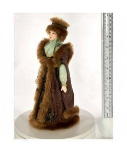 Porcelain Art doll Boyarynya in a letnik and fur hat 16th century Rus Handmade souvenir