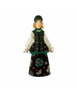 Porcelain art doll Russian girlish festive costume Handmade souvenir