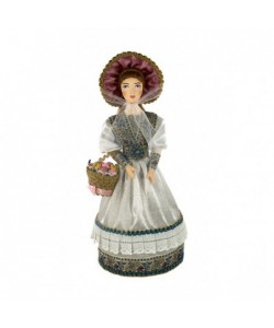 Porcelain art doll Young lady in a summer costume with a basket of flowers 19th century Russia Handmade souvenir