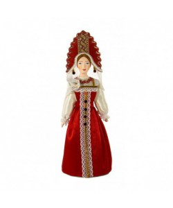 Porcelain art doll Russian girl in festive costume Handmade souvenir