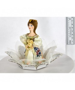 Porcelain Art doll Thumbelina on the water-lily Handmade souvenir