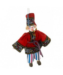Hanging art doll Petrushka - character of the Russian folk theater. Handmade souvenir