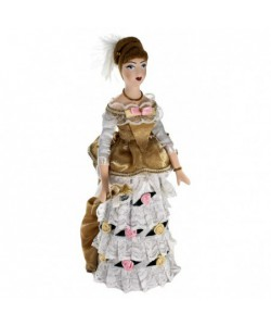 Porcelain art doll Maiden in a ball gown 1870s Petersburg Handmade souvenir