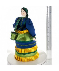 Porcelain ethographic art doll Cossack woman water-carrier Russia Handmade souvenir