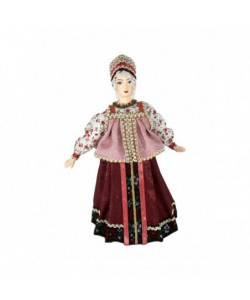 Porcelain Art doll Women's festive attire Siberia Russia early 20th century Handmade souvenir