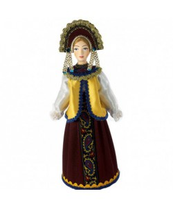 Porcelain Art doll Traditional girlish festive costume Russia Handmade souvenir