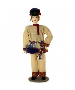 Porcelain art doll Vepsian men's wedding suit 19th century Ingria Russia Handmade souvenir