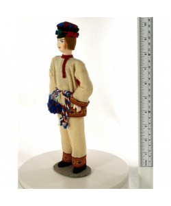 Porcelain ethnographic art doll Vepsian men's wedding suit 19th century Ingria Russia Handmade souvenir