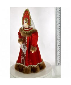 Porcelain art doll folk Girlish festive costume Russia Handmade souvenir