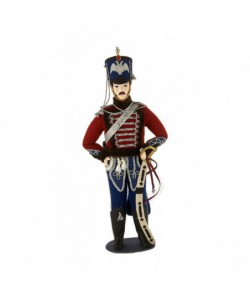 Porcelain art doll Gusar military uniform leibgarde hussar regiment 1840 year Russia Handmade souvenir