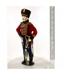 Porcelain art doll Gusar military uniform leibgarde hussar regiment 1849 year Russia Handmade souvenir