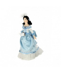 Porcelain art doll Lady in fashionable dress 1860s Europe Handmade souvenir Handmade souvenir